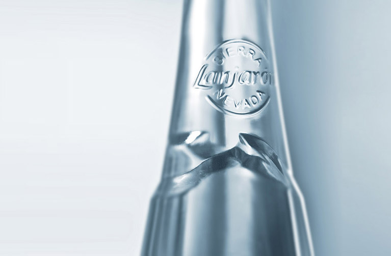 Detail view of the bottle design.