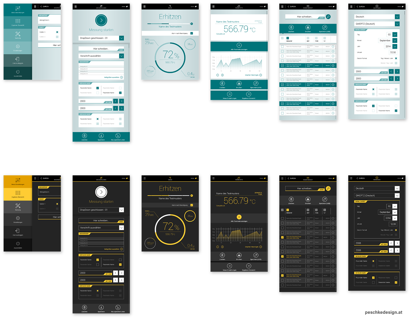 Two colour schemes for hmi visual design - day mode and dark mode.