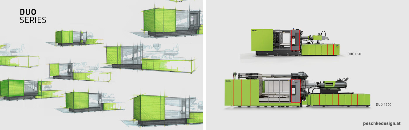 Sketches and model options of the Duo plastic injection moulding machine,