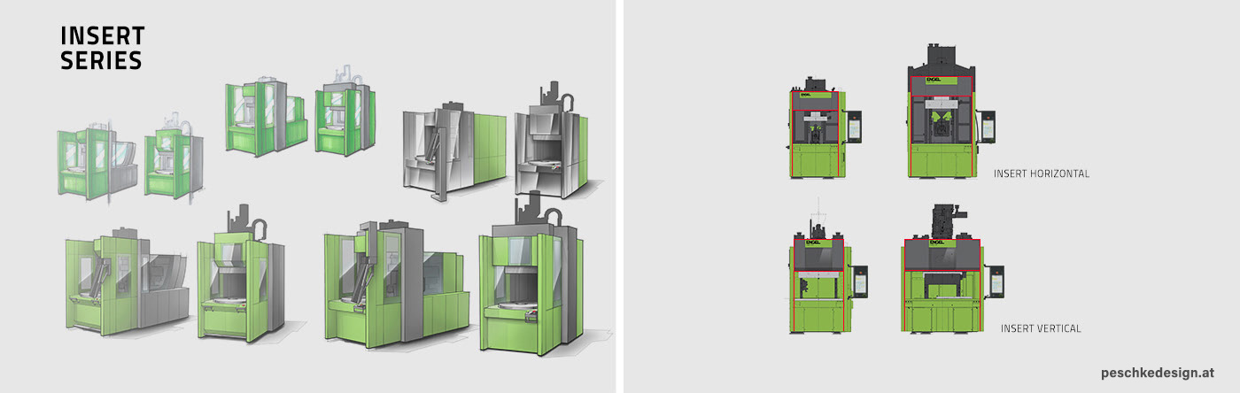 Sketches and model options of the Engel Insert plastic injection moulding machines,