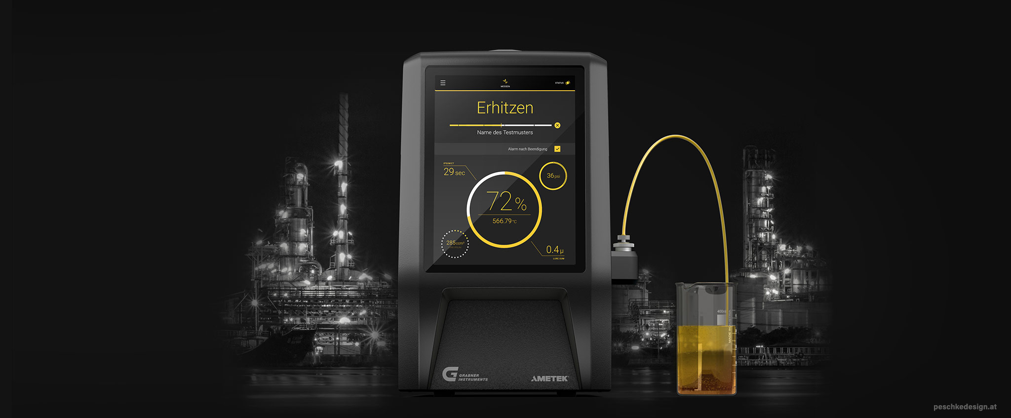Showcasing the device design in front of an oil refinery at night.