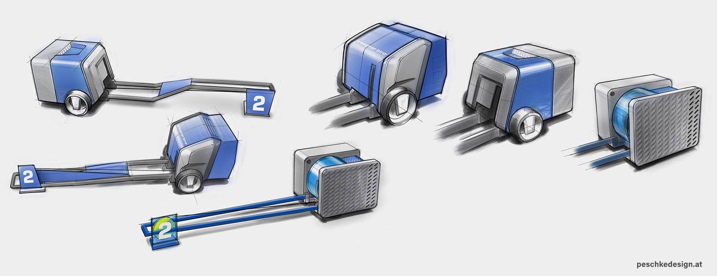 Skizzen für die industrielle Gestaltung einer Punktzugwinde.