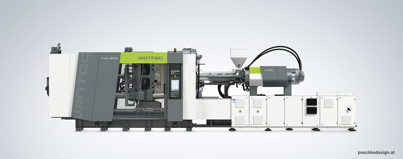 Front viewof Wintec injection moulding machine.