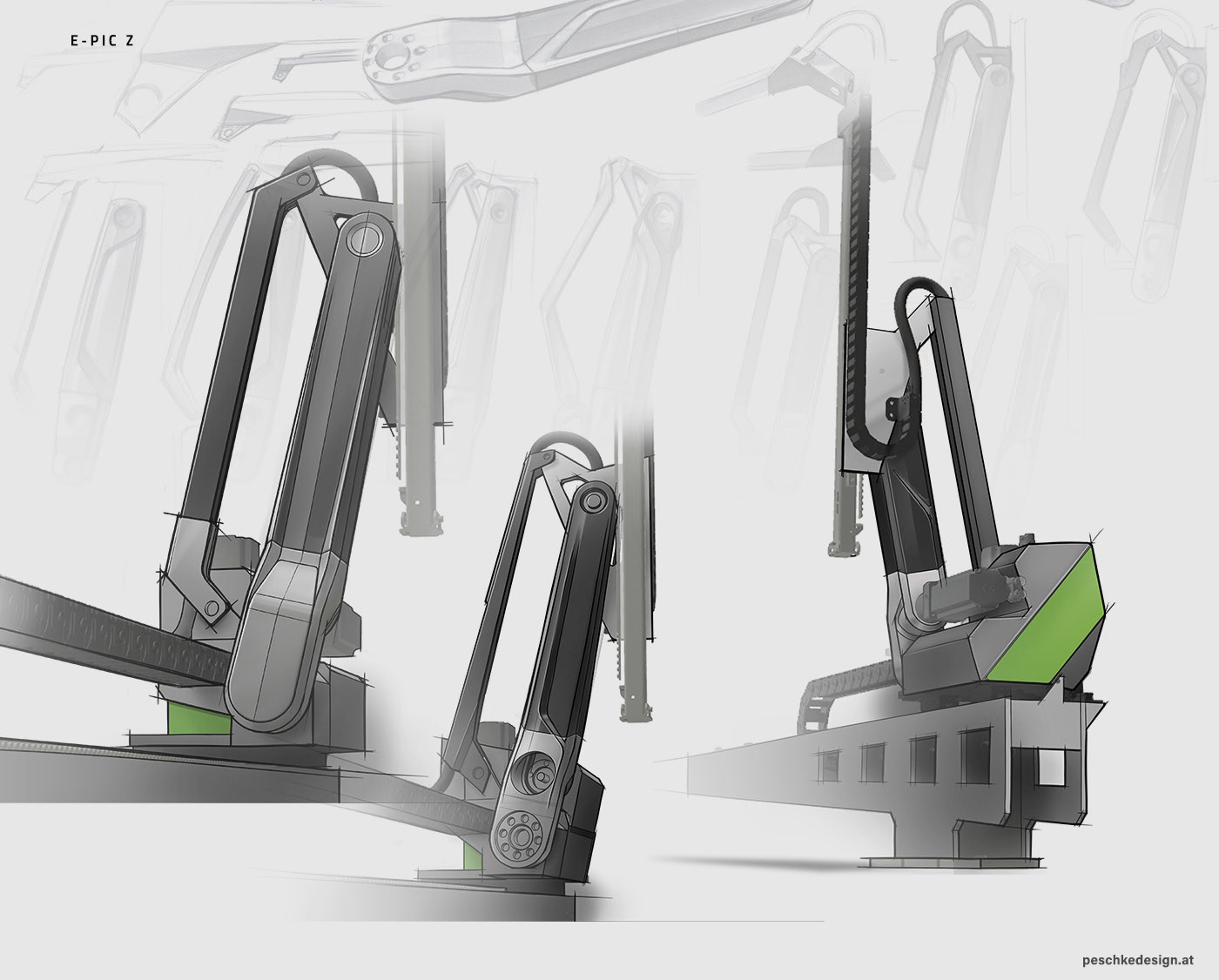 Entwurfs-Skizzen für das Indutriedesign des Engel Pic Roboters.