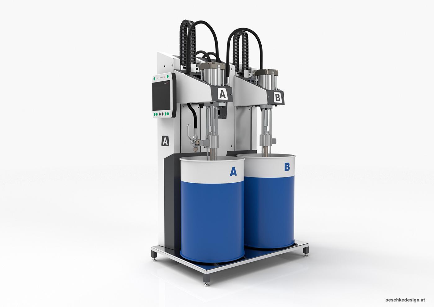 Elmet Silikon-Maschine mit Fässern