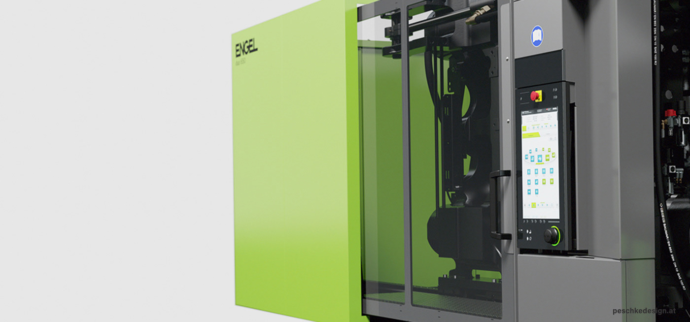 Rendering des Industriedesign-Entwurf für die Engel Duo Spritzguss-Maschine in Perspektive.