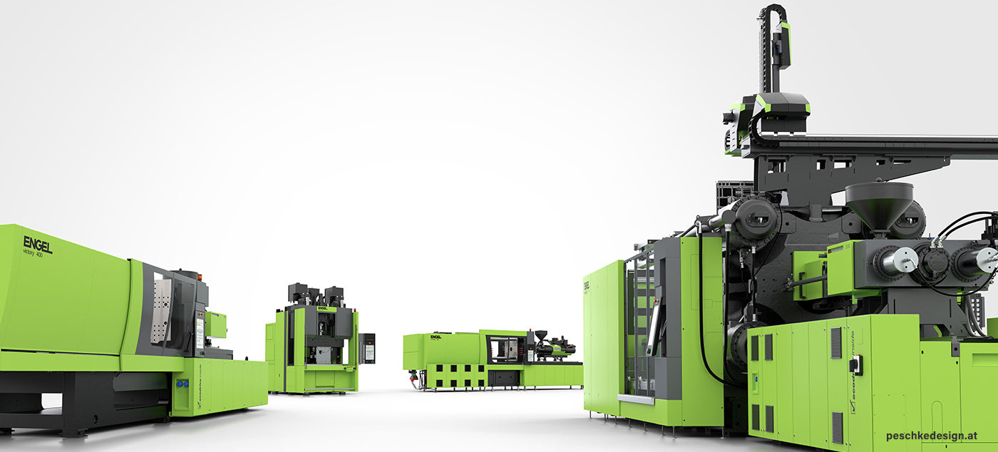 Various injection moulding machines stand before a white background.