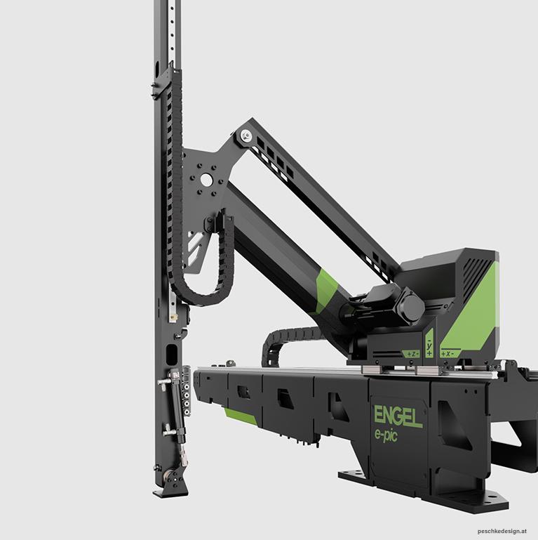 Industriedesign des Engel Pic Roboter vor grauem Hintergrund.