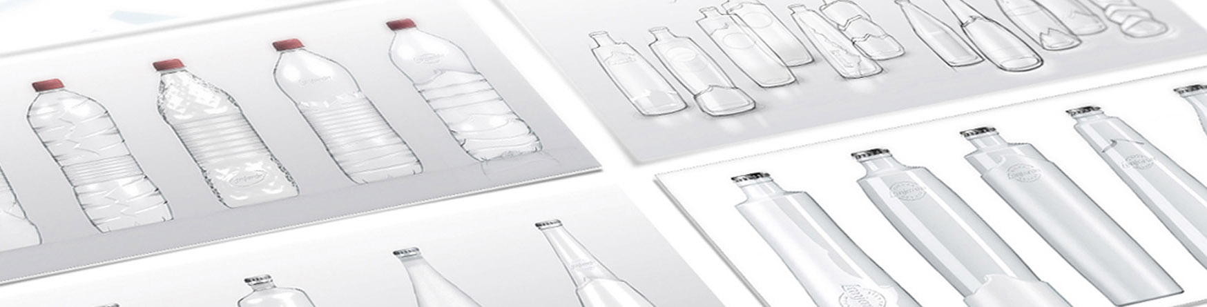 Product design sketches for a water bottle.