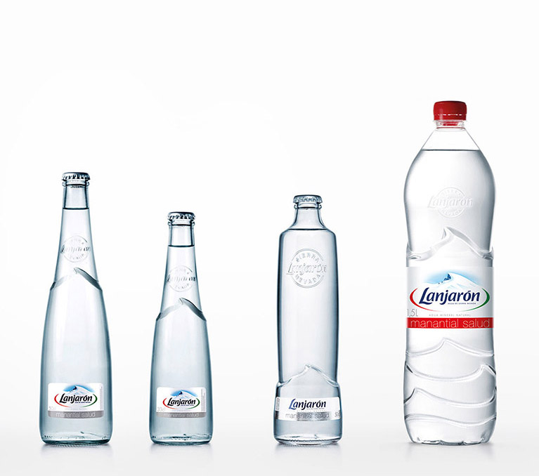 Product design for lanjaron mineral water bottles.