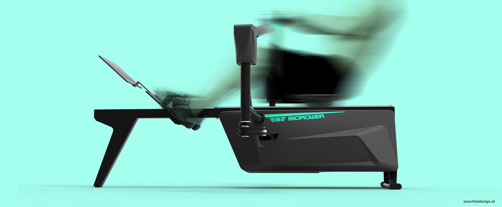 produktdesign ruder-ergometer seitenansicht