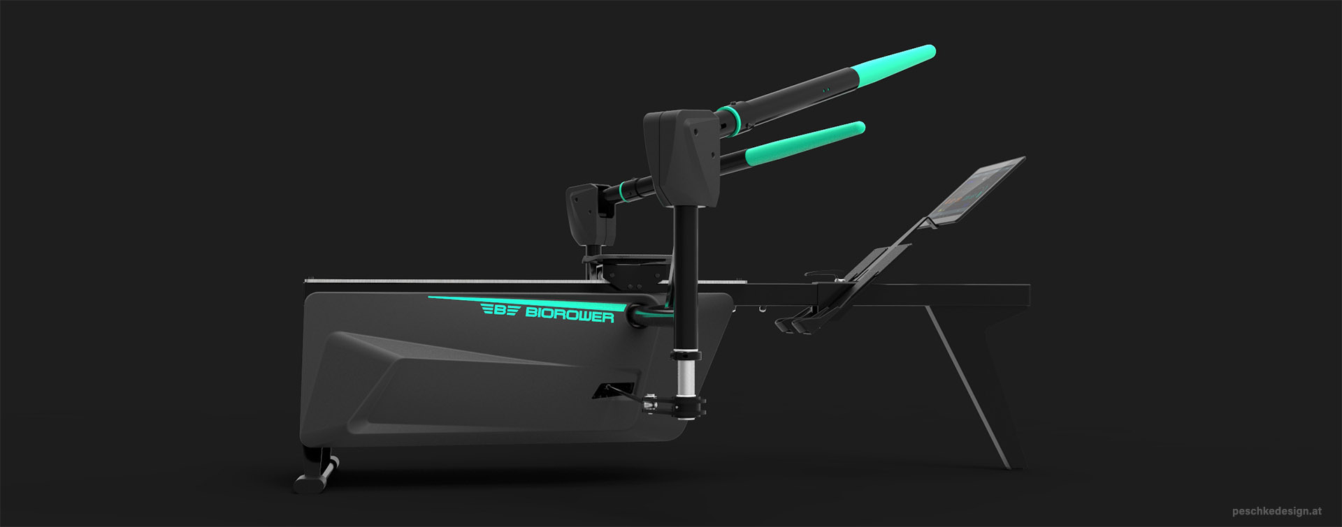 biorower rowing trainer design, viewed from right