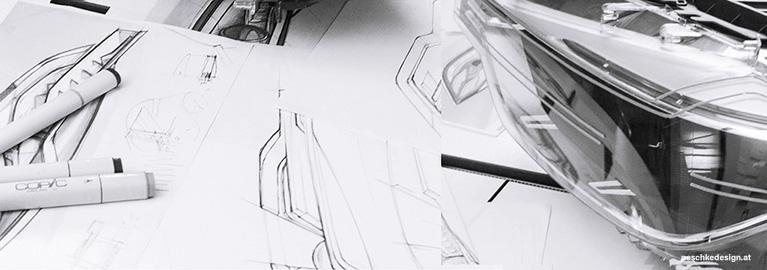 Entwicklung des Produktdesigns anhand Skizzen und Arbeits-Modellen.