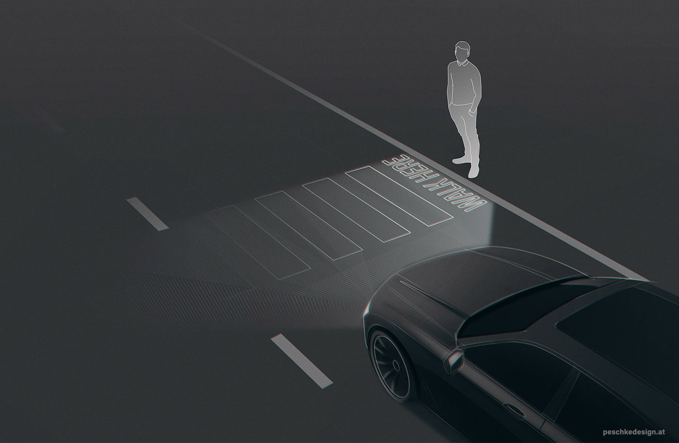 A smart headlight projects a pedestrian crossing onto the tarmac.