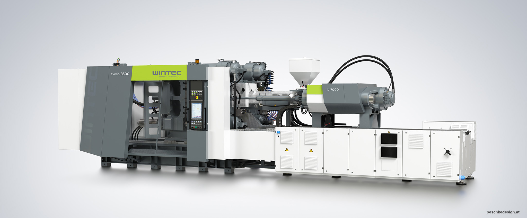 Perspective view of Wintec injection moulding machine.